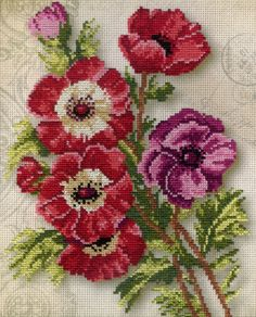 Cross Stitch Borders, Cross Stitch Flowers, Cross Stitch Designs, Cross Stitch Patterns, Cross Stitch Embroidery, Hand Embroidery, Owl Quilt Pattern, Anemone Flower, Bead Loom Patterns