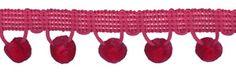 12 Yds Strawberry Pink Ball Fringe 1 1/8 Inch at Dove Originals Trims   Cording, Lace Trim, Fabric Fringe