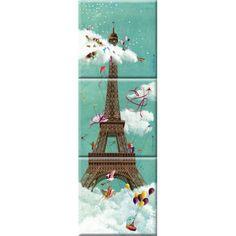 """Marie-Anne Foucart magnet """"La Tour Eiffel"""" (Triptyque complet 80x240mm)"""