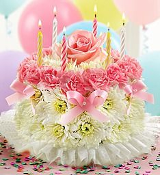 Flower birthday cake - crafted from fresh pastel flowers such as mini carnations and poms - with a set of candles Happy Birthday Flower Cake, Birthday Wishes Flowers, Birthday Gifts, Diy Birthday, Birthday Cakes, Deco Floral, Floral Cake, Arte Floral, Mini Carnations