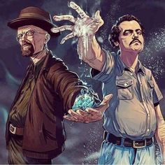 Walter White and Pablo Escobar Breaking Bad Narcos Breaking Bad Poster, Breaking Bad Arte, Breaking Bad Tattoo, Pablo Escobar, Heisenberg, Geeks, Breakin Bad, Films Marvel, Creation Art