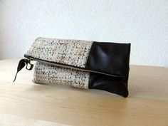 Leather Clutch in Dark Brown Italian Leather and European Wool - Indie Patchwork Series Dainty Jewelry, Handmade Jewelry, Female Pleasure, Leather Material, Beautiful Bags, Leather Clutch, Italian Leather, Dark Brown, Purses And Bags