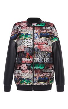 This **Giamba** jacket is rendered in polyester and features a graphic print design with contrasting black sleeves.