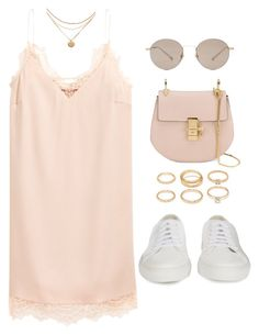 """""""Untitled #5255"""" by lilaclynn ❤ liked on Polyvore featuring H&M, Common Projects, Chloé, Forever 21, Gucci, HM, forever21, gucci and chloe"""