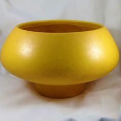 Mustard yellow in color. To be used as a bowl, vase or accent piece. A truly unique and fun handmade piece of pottery. Vintage Glassware, Vintage Love, Midcentury Modern, Accent Pieces, Pedestal, Pottery Art, 1970s, Planter Pots, Color Yellow