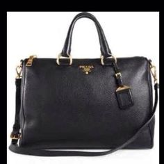 Authentic Prada Daino Leather Bag! Calfskin black pebble stone leather! Great condition! Very mild wear. Will show more pics, just ask :) Willing to lower using ️️ or Ⓜ️ercari. Comes with receipt, bag, shoulder strap, authenticity cards, and dust bag! Prada Bags Shoulder Bags