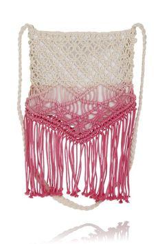 Boutique Ombre Cream & Pink Macrame Crochet Fringe Bag £18