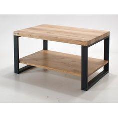 Stolik kawowy z półką na czarnych stalowych nogach