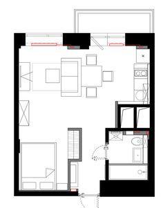 Apartment Floor Plan Flat Floorplan 59 New Ideas Small Tiny House, Small House Plans, Diy Apartment Decor, Apartment Design, Studio Floor Plans, Apartment Floor Plans, Tiny Apartments, Inside Home, Architect House