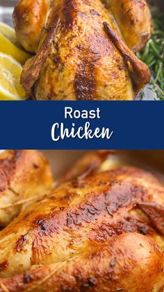 Delicious, crispy skin, herb butter rubbed roast c Whole Chicken Recipes Oven, Whole Baked Chicken, Roast Chicken Recipes, Stuffed Whole Chicken, Healthy Chicken Recipes, Meat Recipes, Recipe For Roasted Chicken, Turbo Chicken Recipe, Roast Chicken With Stuffing