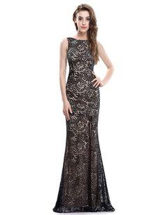 Thigh High Slit Evening Dress with Open Back | Ever-Pretty.com