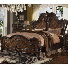 Acme Furniture 21790 Q Versailles Cherry Oak Parquet Panel Queen Sleigh Bed Traditional Q Versailles) Buy online! Bedroom Size, King Bedroom Sets, Bedroom Bed, King Size Bedroom Suites, Master Bedroom, Oak Bedroom, Queen Bedroom, Acme Furniture, Bedroom Furniture