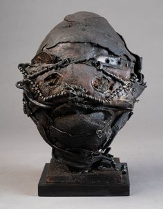 """""""Heads"""" by Artist Ronald Gonzalez Collage Sculpture, Sculptures, Lion Sculpture, Contemporary Sculpture, Contemporary Artists, Space Knight, Wanted Movie, Found Object Art, Thing 1"""