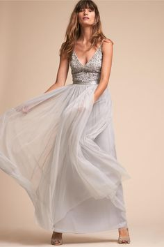07cc4e97674d BHLDN Avery Dress from Anthropologie - light grey silver bridesmaid dress -  Featuring a deep v-neck and matching back