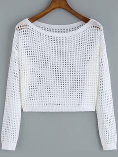 Negozio Crop maglia traforata bianca on-line. SheIn offre Crop maglia traforata bianca & di più per soddisfare le vostre esigenze di moda.