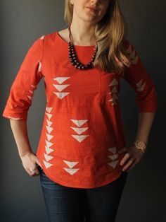 The Beatrix Sewing Pattern. The fabric is Alison Glass' beautiful red Geese print from her first Handcrafted line.