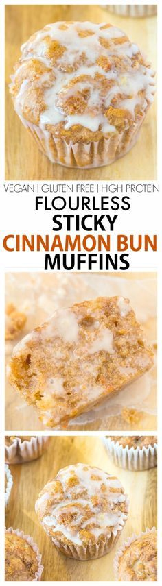 Healthy Flourless Sticky Cinnamon Bun Muffin recipe- Delicious, quick, easy and protein packed muffins, No butter, flour, oil or added sugars! {vegan, gluten-free, high protein}