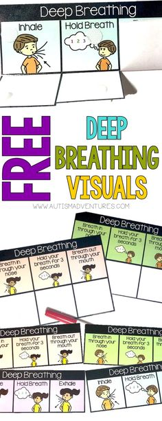 FREE Deep Breathing Visual support for students with autism. Visual tools for calm down kit