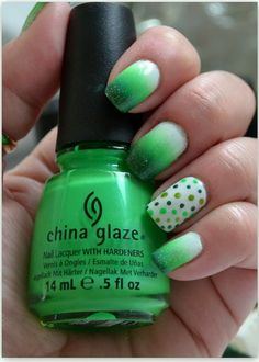 Gradient Dot Nail Art in green gradient china glaze polish! #nailart #nails #mani #polish - For more nail looks or to share yours, go to bellashoot.com