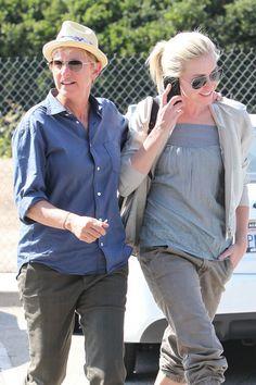 Ellen Degeneres And Portia, Ellen And Portia, Portia De Rossi, Celebrity Couples, Rain Jacket, Windbreaker, Celebs, Water, Photos