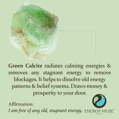 Green Calcite radiates calming energies, removing any energy blockages. It helps to dissolve old patterns and belief systems. And it draws money and prosperity to your door! #crystals