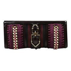 Pre-Owned Burberry Prorsum Purple Brown Canvas Leather Buckle Clutch ($360) ❤ liked on Polyvore featuring bags, handbags, clutches, multi, burberry purses, macrame purse, magnetic purse, crochet purse and brown clutches