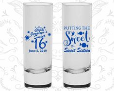 16th Birthday Shooter Glasses, Sweet 16 Party, Sweet sixteen, Birthday Tall Shot Glasses (20142)