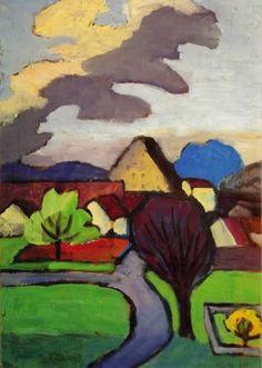 Gabriele Münter, Dorf mit grauer Wolke, 1939