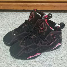 Jordan's size 7y Pink and Black Jordan's. 9/10 condition. Re-listing because they were not actually sold last time. Check my last listing for additional pics. Make an offer. Jordan Shoes