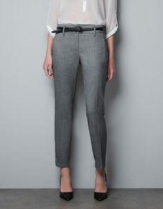 TROUSERS WITH FOLDED HEM - Trousers - Woman - ZARA