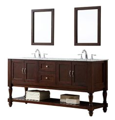 The sophistication of this mission turnleg bathroom vanity set is topped with the prized Carrara white marble top Set into the natural stone are double white porcelain under-mount sinks This dark brown finish wood double vanity cabinet features 2 double-door cabinets located on both sides while