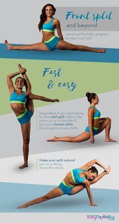 Learn Front split and beyond! Fast and easy! Regardless if you are looking for the cold split without the warm up or to transfer it into your chosen skills, this program covers both! #split #splits #stretch #stretching #Bow