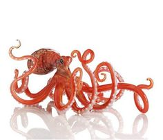 Octopus of glass figurine. Octopus Art, Art Of Glass, Glass Figurines, Glass Animals, Sculpture, Objet D'art, Tentacle, Hand Blown Glass, Decorative Objects