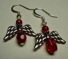 Swarovski Dangle Earrings Angels Red by Shabyas on Etsy