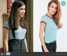 Riley's blue tee and pinstriped overalls on Girl Meets World.  Outfit Details: https://wornontv.net/64595/ #GirlMeetsWorld