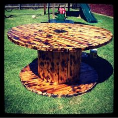 Wood reel table. Perfect for back patio and/or backyard parties.