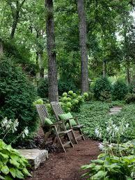 seating area in woodland garden- enchanting!