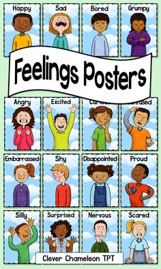 Sixteen Feelings Posters in a digital PDF  - Two to a page.