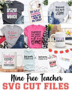 These nine free Teacher SVG Files are perfect for Teacher Appreciation Week, end-of-school-year gifts, and even back-to-school. Each cut file is designed for use with a vinyl machine like a Cricut or Silhouette. School Shirts, Teacher Shirts, Back To School Teacher, Teacher Year End Gifts, Diy School, School Staff, Student Teacher, Sunday School, Cricut Tutorials