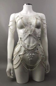 Lovechild Boudoir, Vest Outfits, White Lace, Sequins, Couture, Pearls, Pretty, Clothes, Dresses