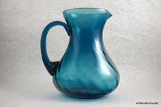Teal Blue Hand Blown Optic Swirl 48 oz  by soflacollectors86, $32.00