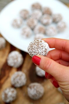 Chocolate Coconut Protein Balls   POPSUGAR Fitness, 53 cal, 2.6g protein each!!!!