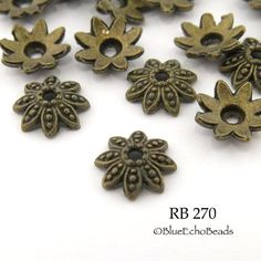 Large Antique Brass Bead Cap Flower Bead Cap Antique Bronze 14mm (RB 270) 20 pcs BlueEchoBeads