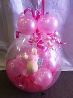 Pink Stuffed Balloon Gift Baby Balloon, Balloon Gift, Baby Shower Balloons, Balloons And More, Big Balloons, Birthday Balloons, Balloon Arrangements, Balloon Centerpieces, Balloon Decorations