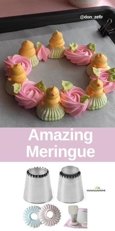 Use piping tips for beautiful meringues meringuescakes meringue pipingtips mynohasslehome birthdaycake this is mesmerizing Cake Decorating Frosting, Cake Decorating Videos, Cake Decorating Techniques, Cookie Decorating, Meringue Desserts, Rose Meringue Cookies, Meringue Kisses, Piping Icing, Cupcake Cakes