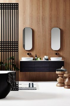 ISSY Z8 6 Drawer Vanity 1500 and ISSY Z1 Oval Mirror 380 (in situ front view cropped)