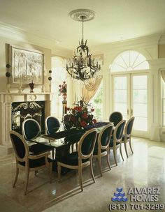 luxury dining room in the woodside by home builders in tampa alvarez
