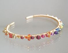 Uniquely Designed Cuff, Multi Gemstone 14k Gold Filled Cuff, Wire Wrapped Stackable Bracelet, Sapphires, Tanzanite