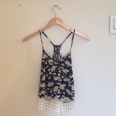 Fringe tank top Blue flowered tank top with fringe detail at the bottom! Urban Outfitters Tops Tank Tops