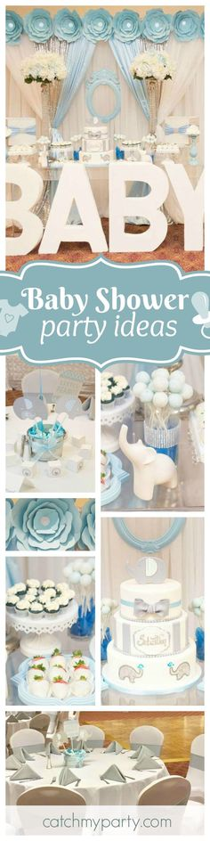 Don't miss this gorgeous Elephant themed baby shower!! The dessert table is so glamorous!! See more party ideas and share yours at http://CatchMyParty.com #decoracionbabyshower